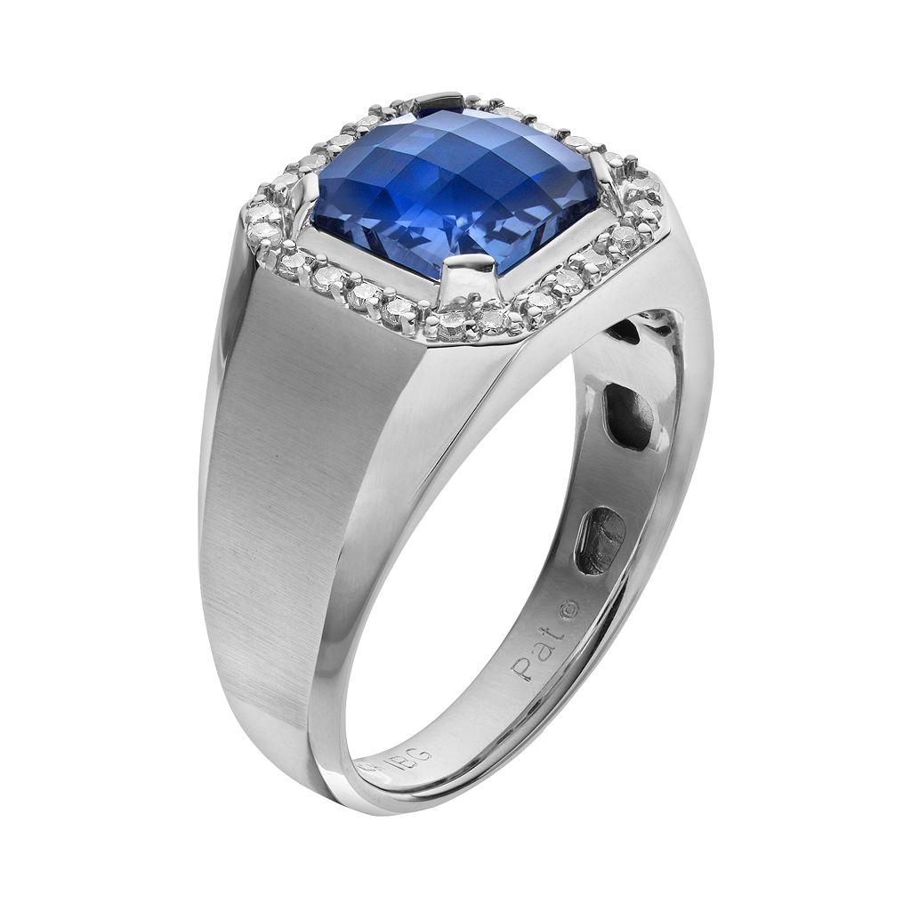 Lab-Created Blue Sapphire and 1/4 Carat T.W. Diamond 10k White Gold Ring - Men