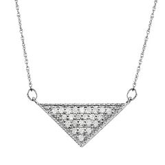 1/4 Carat T.W. Diamond 10k White Gold Triangle Necklace