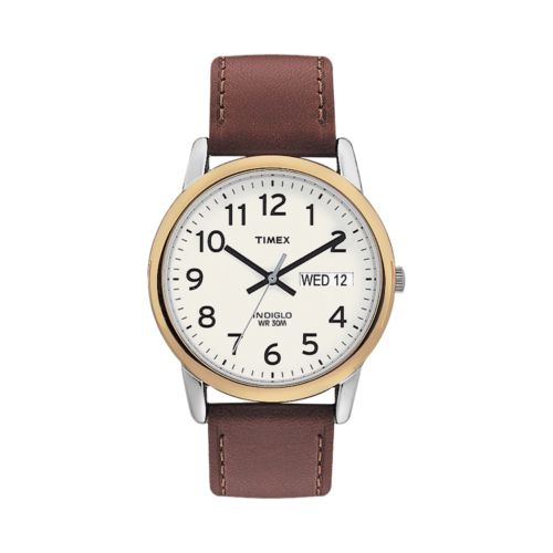 Timex Gold Tone Leather Watch - T200119J - Men