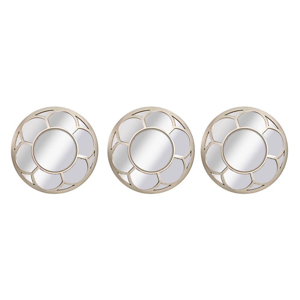 Wall Mirror Set Of 3 piece round floral wall mirror set