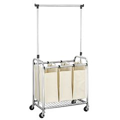 Household Essentials Rolling 3-Bag Laundry Sorter with Removable Garment Rack