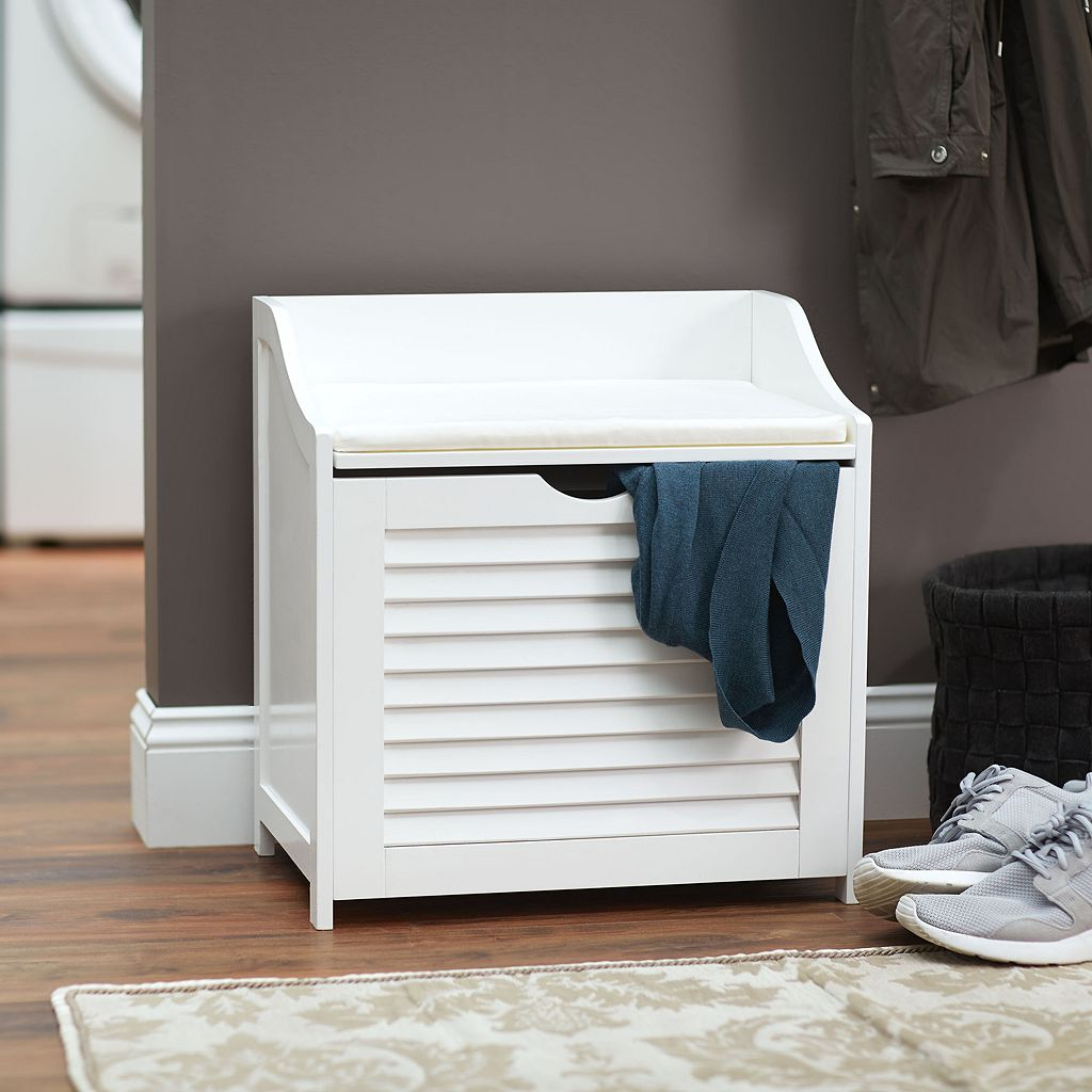 Household Essentials Shutter Laundry Storage Bench
