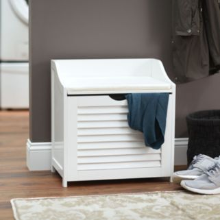 Household Essentials Shutter Laundry Storage Bench