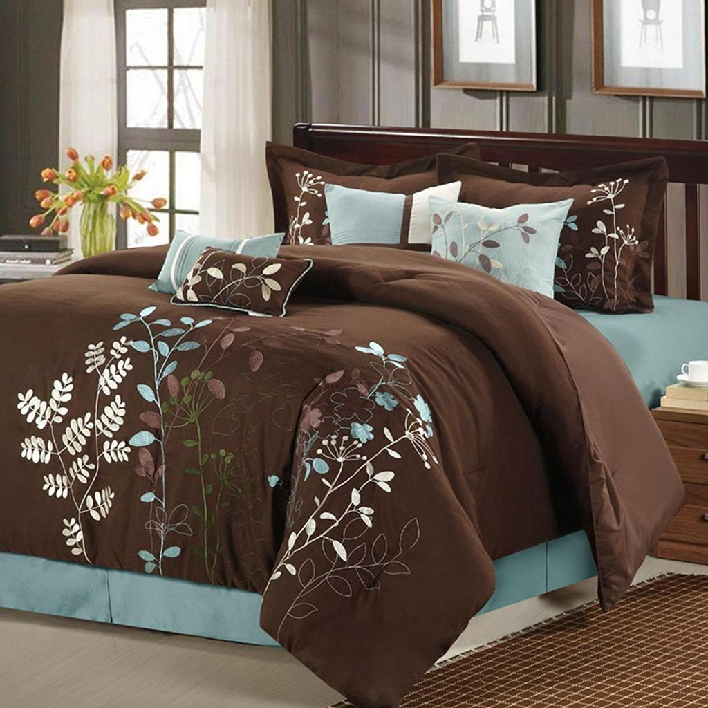 Bliss Garden 8-pc. Brown Comforter Set