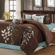 Bliss Garden 8 pc Brown Comforter Set