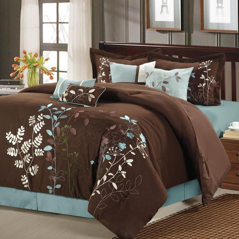 Bliss Garden 8 Pc. Brown Comforter Set