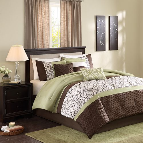 Madison Park Lindan 7-pc. Comforter Set Queen -Green/Brown