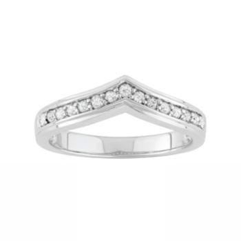 1/4 Carat T.W. Diamond Sterling Silver V Ring