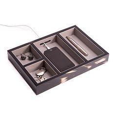 Bey-Berk Wood Open Valet Box - Men