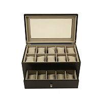 Bey-Berk Wood 20-Slot Watch Storage Box - Men