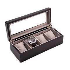 Bey-Berk Wood 4-Slot Watch Box - Men