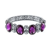 1928 Purple Faceted Oval & Filigree Bead Stretch Bracelet