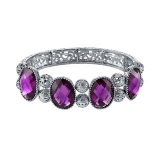 1928 Purple Faceted Oval & Filigree Bead Stretch Bracelet