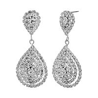 Crystal Allure Flower Teardrop Earrings