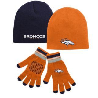 Youth Denver Broncos Hat & Glove Set