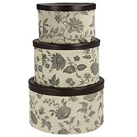 Household Essentials Floral 3 pc Hat Storage Box Set