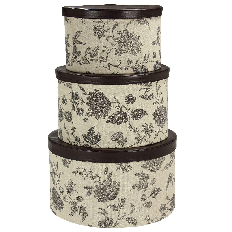 Superieur Household Essentials Floral 3 Pc. Hat Storage Box Set