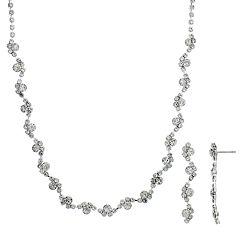 Crystal Allure Cluster Necklace & Linear Drop Earrings