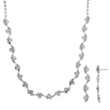 Crystal Allure Cluster Necklace & Linear Drop Earrings