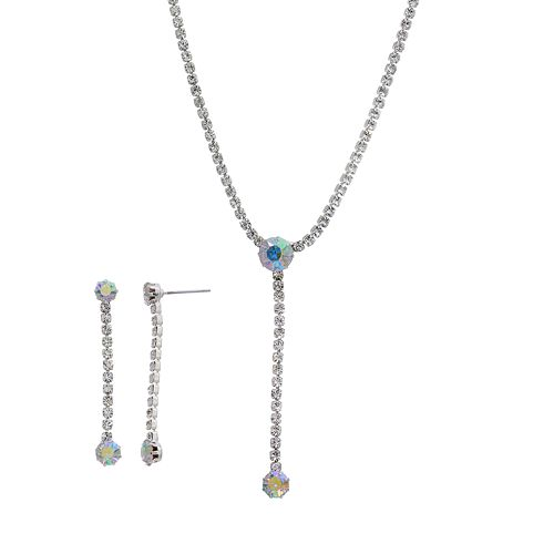 Crystal Allure Y Necklace & Linear Drop Earring Set