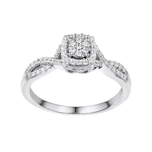 Two Hearts Forever One 1/5 Carat T.W. Diamond Sterling Silver Halo Ring