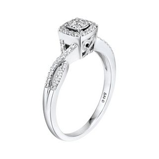 7925905e86d3e Two Hearts Forever One 1/5 Carat T.W. Diamond Sterling Silver Halo Ring