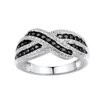 1/3 Carat T.W. Black Diamond Sterling Silver Crisscross Ring