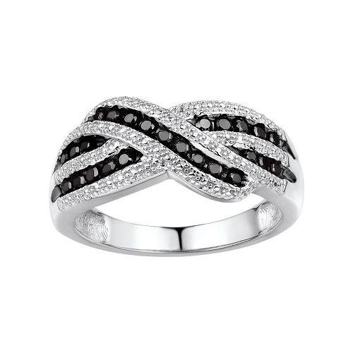 1/3 Carat T.W. Black Diamond Sterling Silver Crisscross Ring