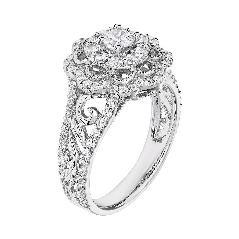 Simply Vera Vera Wang Diamond Flower Engagement Ring in 14k White