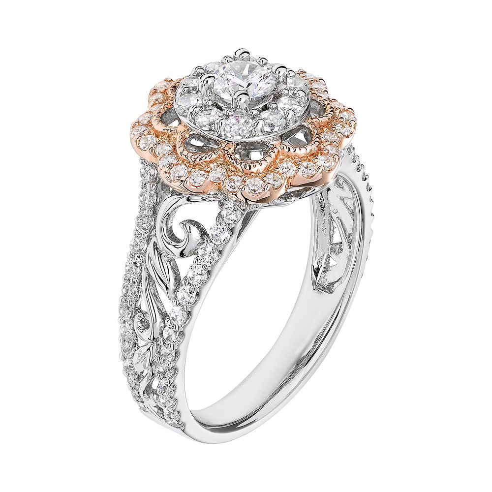 Simply Vera Vera Wang Diamond Flower Engagement Ring In 14k White Gold (1  Carat Tw)