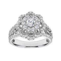 Simply Vera Vera Wang Diamond Flower Engagement Ring in 14k White Gold (1  Carat T.W.