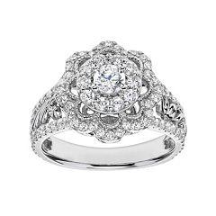 simply vera vera wang diamond flower engagement ring in 14k white gold 1 carat tw - Vera Wang Wedding Ring