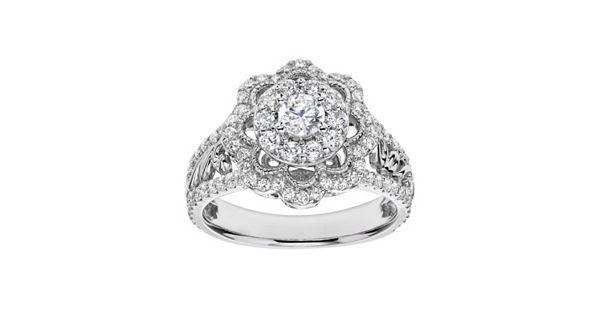 Simply Vera Vera Wang Diamond Flower Engagement Ring In
