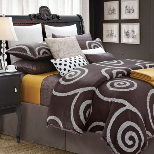 Serenity 7-pc. Brown Duvet Cover Set