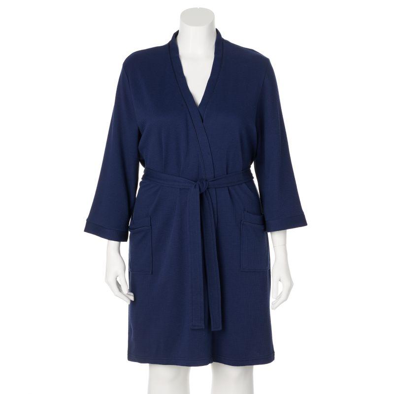 Croft & Barrow Waffle-Knit Kimono Wrap Robe - Women's Plus Size