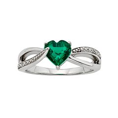 Lab-Created Emerald & Diamond Accent Sterling Silver Heart Bypass Ring