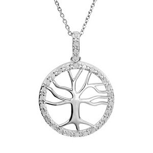 1/4 Carat T.W. Diamond Sterling Silver Tree of Life Pendant Necklace