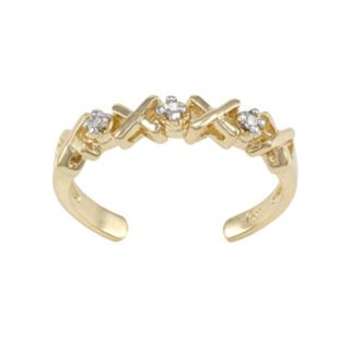 Diamond Accent 10k Gold XO Toe Ring