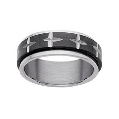 Stainless Steel & Black Ion-Plated Stainless Steel Cross Spinner Wedding Band - Men