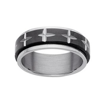 Stainless Steel & Black Ion-Plated Stainless Steel Cross Spinner Wedding Band - Men