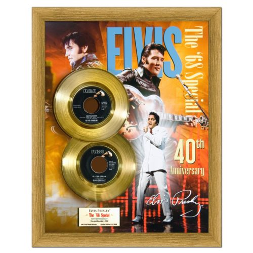 Elvis Presley 50th Anniversary for '68 Special 16 x 20 Framed Gold 45
