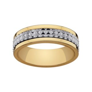 Stainless Steel and Yellow Ion-Plated Stainless Steel Textured Spinner Wedding Band - Men