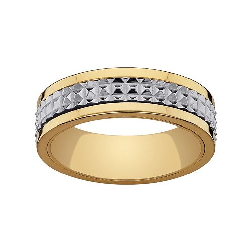 Stainless Steel & Yellow Ion-Plated Stainless Steel Textured Spinner Wedding Band - Men