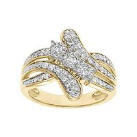Cherish Always 1/2 Carat T.W. Certified Diamond 10k Gold 3-Stone Bypass Anniversary Ring