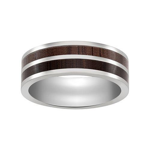 Titanium wood wedding band men for Kohls jewelry mens rings