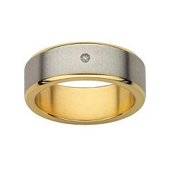 Diamond Accent Titanium & Yellow Ion-Plated Titanium Wedding Band - Men