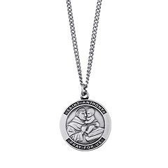 Sterling Silver 'Saint Anthony, Pray For Us' Medal Pendant Necklace
