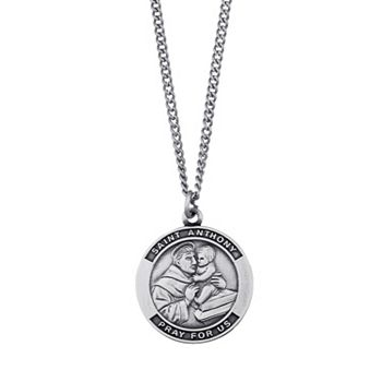 Sterling silver saint anthony pray for us medal pendant necklace aloadofball Images