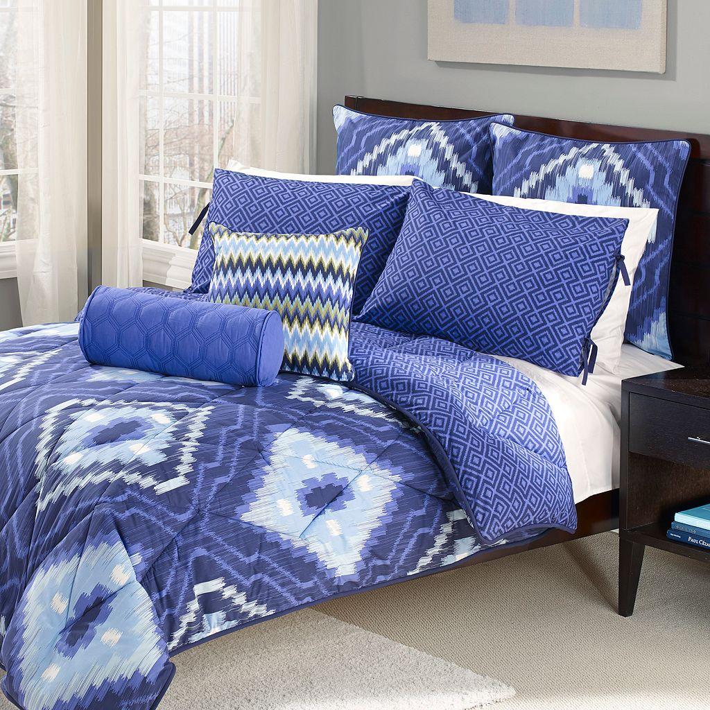 Wild Olive Ikat 7-pc. Reversible Comforter Set