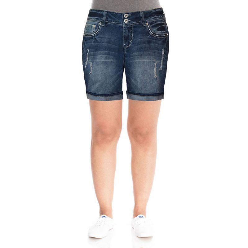 Wallflower Embroidered Juniors' Plus Denim Shorts